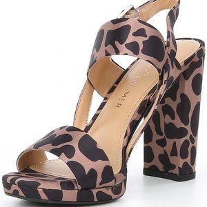 Emmy Giraffe Print Block Heel Sandals